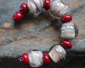 Portia.........Handmade...Lampwork Bead Set..Grey, Red....UK artist......SALE item