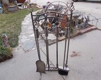 Retro Heavy Steel Very Ornate Fireplace Tool Set On Beautiful Stand,Fire Place Tools,Vintage Home Decor/Not Included in Sale New Listing :)S