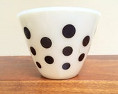 Vintage Fire King Oven Ware White Glass Bowl with Black Dots