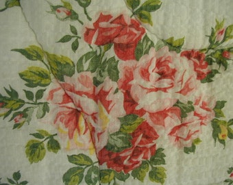 Vintage Comforter-Bedspread, Floral Print, Pink and Red Roses, Cotton Pique Fabric