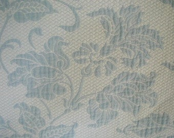 Vintage Bedspread, Blue and White Botanical, Matelasse Bedspread, Full-Queen Bed Size, with One Matching Pillow Sham