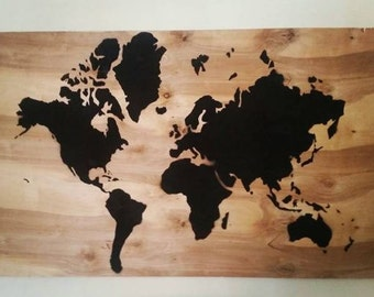 Map of the World painting - stencil on  large 2'x4' wood OR on framed burlap - stencil graffiti art or