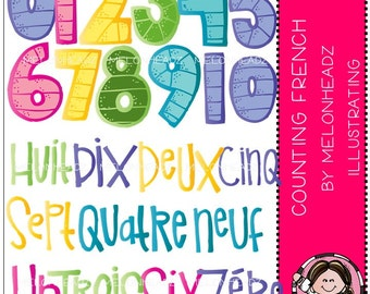 Counting clip art - French