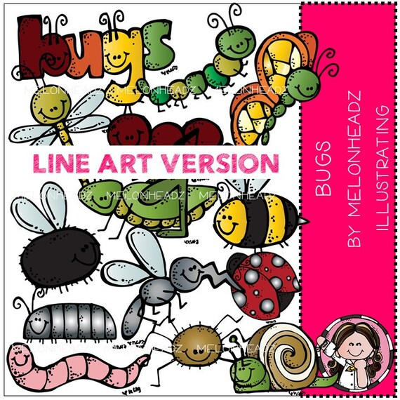 Line Art Etsy : Bugs clip art line from melonheadzclipart on etsy studio