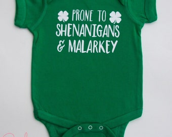 Baby Boys St. Patrick's Day Bodysuit- Prone To Shenanigans and Malarkey