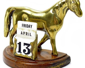 Vintage Equestrian Wooden Perpetual Desk Calendar with Brass Horse