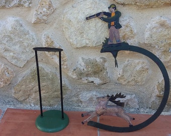 French Folk Art Toy Deer Hunter Artistic Hand Painted Handmade Iron Pendulum Hunting Stalking