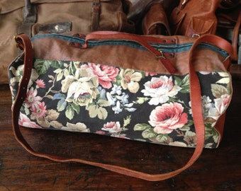 Granny Chic Floral Duffel Bag, Cotton Canvas Leather Weekend Travel Duffle Gym Bag Holdall Large Satchel