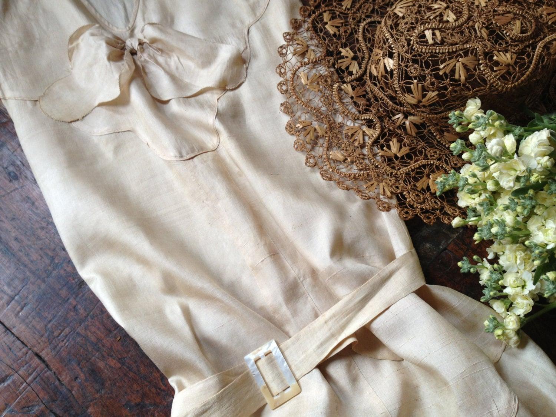 Shantung Silk Wedding Dress 1920s Summer Dress Ivory Cream