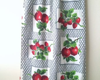 Cute Vintage 50s Fruit Fabric Colorful Cotton Print Apples and Strawberries Novelty Quilt Weight Gray Lattice By the Yard Cute Bright Fun