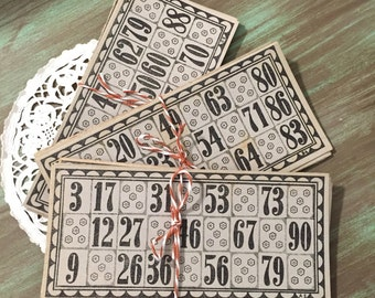Bingo Cards/ 5 Vintage Gray & Black Neutral Bingo Cards / German Lotto Cards for Altered Art, Mixed Media, Collage, Journals, Scrapbooking