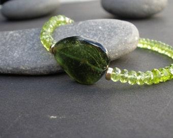 Green Gemstone Tourmaline Slab, Natural Gemstone Peridot Faceted Rondelle - 14kt Yellow Gold Filled Bracelet, Tourmaline  Bracelet