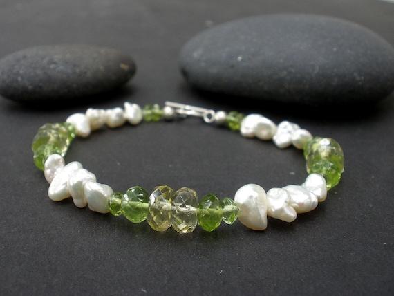 Natural Gemstone Peridot - Faceted Lemon Quartz - White Pearl - 925 Sterling Silver Bracelet