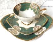 RESERVED for QI- rare tea cup trio vintage tea set Bavaria porcelain tea cups tea trio german teacup  Alka retro tea cup 857