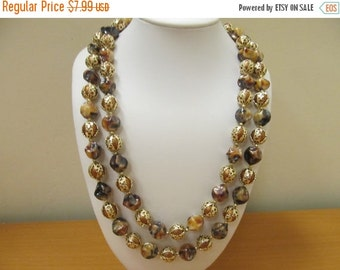 ON SALE HONG Kong Double Strand Earth Tone Beaded Necklace Item K # 59