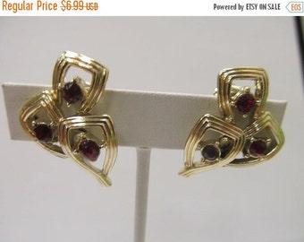 ON SALE CORO Red Rhinestone Earrings Item K # 2792