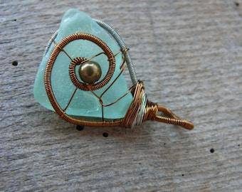 Bicolor wire wrap pendant, metal beads jewelry, sea glass pendant, brown and white copper wire, genuine sea glass aqua sea foam, sea jewelry