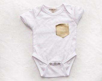 t-shirt or onesie with Faux Leather Gold Chest Pocket sizes NB-6T from MINT COLLECTION