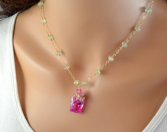 Gemstone Necklace, Spring Wedding Jewelry, Pink Topaz Prehnite, Sterling Silver or Gold Jewelry - Spring Blossom - Free Shipping