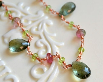Spring Wedding Necklace, Moss Aquamarine, Watermelon Tourmaline, Peridot Gemstone Jewelry, Rose Gold - Spring Moss - Free Shipping