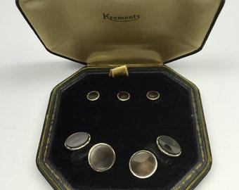 Art Deco Krementz Abalone Platinum Inlay Rim and Gold Filled Cufflinks Dress Tuxedo 3 Stud Set in Original Box 1920's