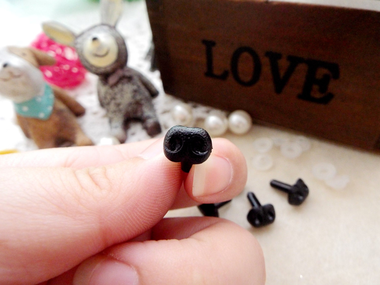 Amigurumi Dog Noses : 8mm Black Plastic Nose Stuffed Animals Noses Amigurumi Safety