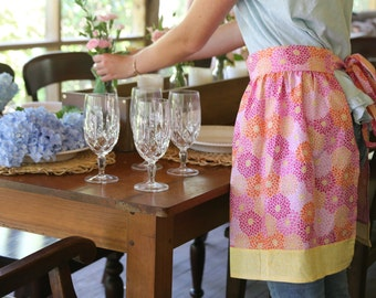Pink and yellow floral apron