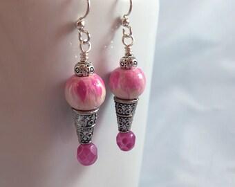 Dangle earrings, handpainted bead, handpainted earrings, pink and purple, watercolor style, ice cream cone, stocking stuffer