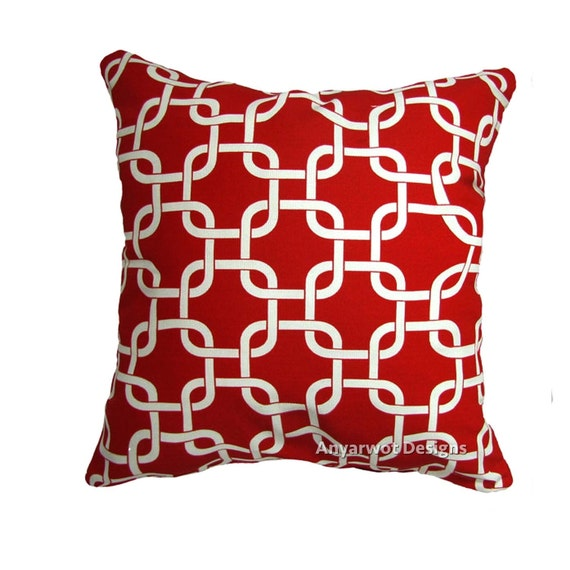 "Red Pillow Cover- Red Cushion- Red Chain Link Pillow Cover .16"",17"",18"",20"" 24"" 26"", Lumbar Pillow or Euro Sham"