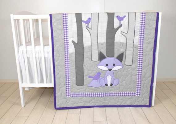 Woodland blanket, Birch tree crib quilt, Personalized fox crib bedding, Personalized baby blanket, gray  and purple