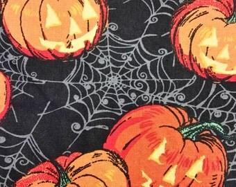 Handmade Scrub Hats Traditional Euro Ponytail Bouffant Halloween Pumpkin Spider Web