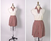 Vintage 1950s 50s Blouse and High Waisted Plaid Shorts Two Piece Set Sanforized Cotton Outfit Buckle Back
