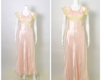Vintage 1940s 40s Nightgown Satin and Lace Bias Cut Blush Pink