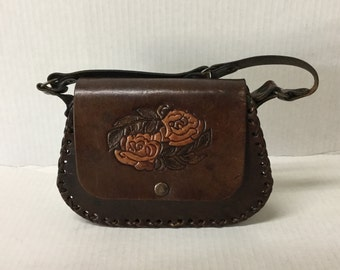Vintage Boho Leather Hippy Bag Hand Tooled Leather Purse