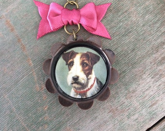 Love My Terrier Necklace/Dog/Modern/Whimsical/Mixed Metal