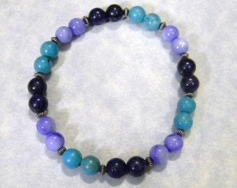 Shades of Blue Gemstone and Oxidized Silver Stretch Bracelet