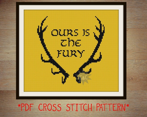 Game of Thrones Baratheon House sigil counted cross stitch printable PDF pattern