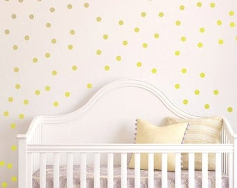 Polka Dot Wall Decal Nursery Kids Room Peel and Stick Circle Sticker Metallic Gold Silver Copper Removable Reusable 200 Dots Included