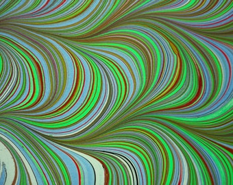 """Hand-Marbled Paper - Multicolored: """"Brightness""""; For framing, Book endpapers, paper art, collage, cards and other paper crafts."""