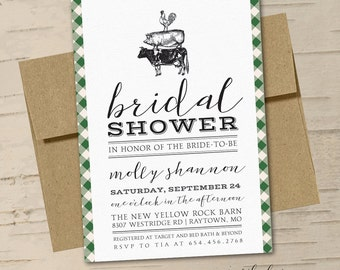 Vintage Farm House Bridal Shower Invitation || Printable Invitation || Cow, Pig, Chicken, Green Plaid