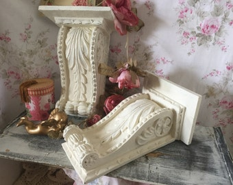Vintage Shabby Chic Corbel Wall Shelves -  Romantic Home - Shabby Chic wall shelf /SHELL - Old World Style - Pair of Shelves