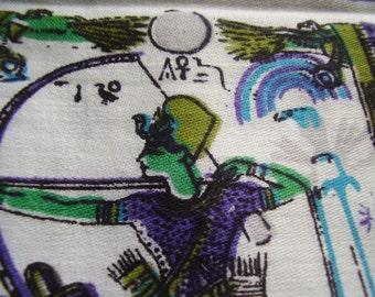 Vintage 1950's, 60's Blues Greens Egyptian Theme Fabric, 4 plus yards
