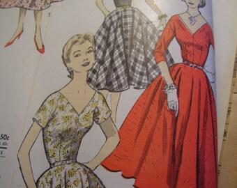 Vintage 1950's Advance 8026 Dress Pattern, Size 12, Bust 32