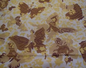 Vintage 1950's Pixie Elves Butterflies Golds Browns Cotton Robarres Fabric, 1 yard