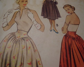 Vintage 1950's McCall's 8738 Skirt Sewing Pattern, Waist 24
