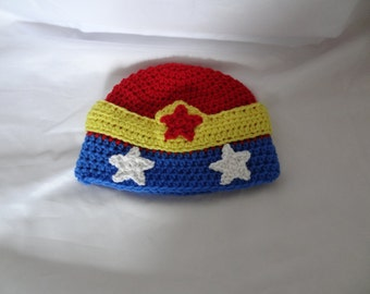 Crochet Red, Blue and Yellow Star Hat