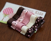 5 Piece Hair Clips Set Light Pink Brown Ivory and Cherry Blossom Kids Hair Clips Hair Accessories