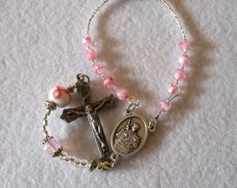 St. Agatha Automobile/Pocket Rosary - Patron Saint of Breast Cancer Patients