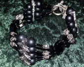 Bracelet Roses and Thorns Black Glass and Silver