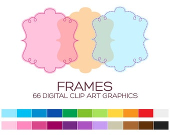 Digital Frame Clipart Digital Frames and Borders Label Clipart Digital Labels For Jars Frames Vintage Wedding Clipart Doodle Frames - A00165